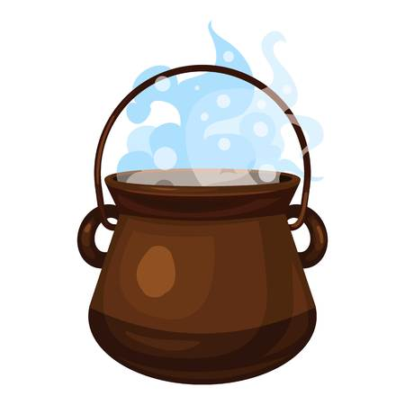 Boiling cauldron icon. Cartoon of boiling cauldron vector icon for web design isolated on white background Illustration