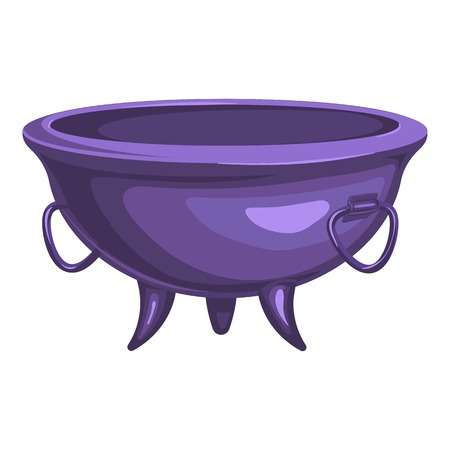 Purple cauldron icon, cartoon style