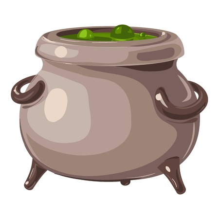 Magic potion cauldron icon. Cartoon of magic potion cauldron vector icon for web design isolated on white background