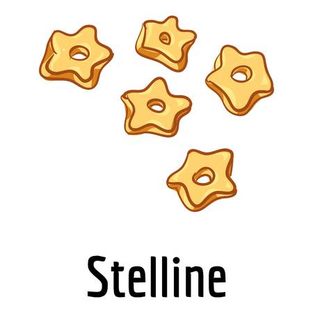 Stelline pasta icon, cartoon style