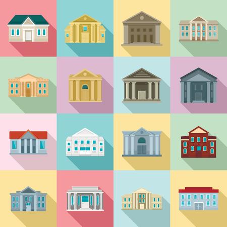 Courthouse icons set, flat style