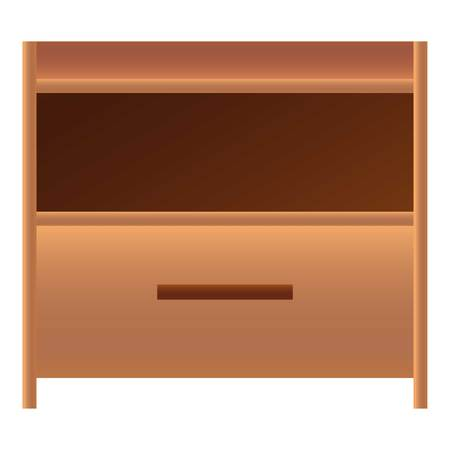 Wood nightstand icon. Cartoon of wood nightstand vector icon for web design isolated on white background