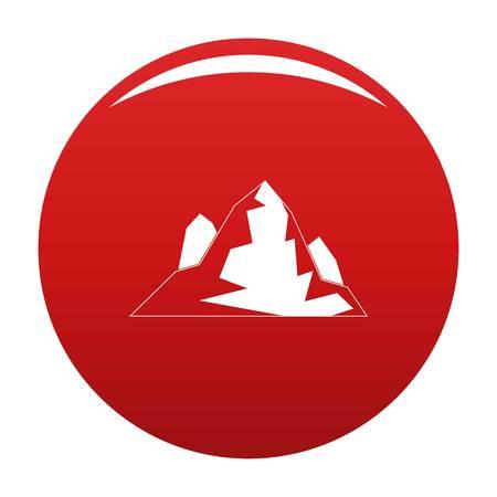 Iceberg icon vector red