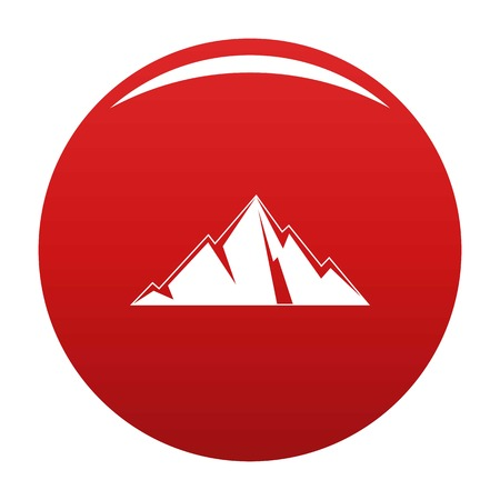 Pointing mountain icon vector red Ilustração