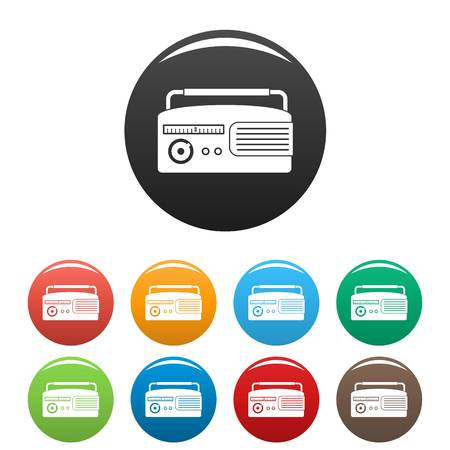 Retro radio icons set color