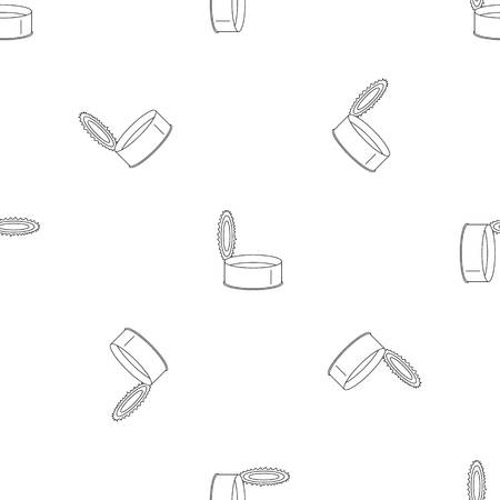 Open silver tin can pattern seamless vector repeat geometric for any web design Illustration