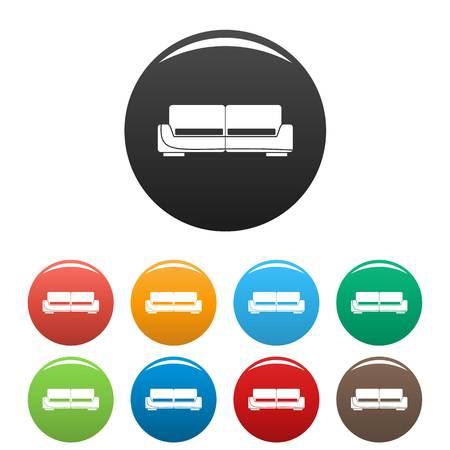 Modern sofa icons set color