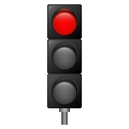 Red color traffic lights icon. Realistic illustration of red color traffic lights vector icon for web design isolated on white background