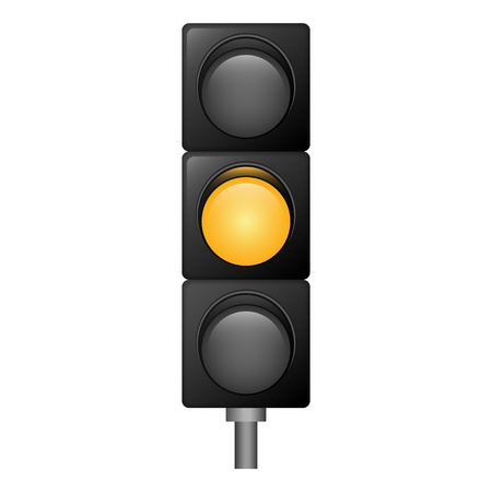 Yellow color traffic lights icon. Realistic illustration of yellow color traffic lights vector icon for web design isolated on white background