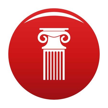 Decorative column icon vector red