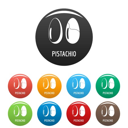 Pistachio icons set color