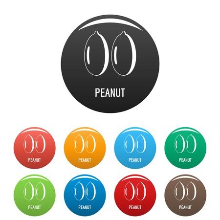 Peanut icons set color