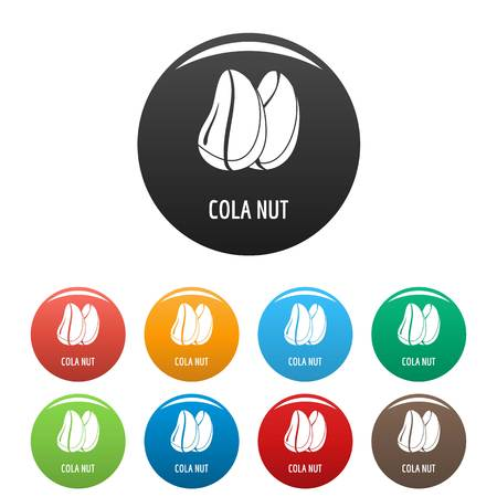 Cola nut icons set 9 color vector isolated on white for any design Ilustrace