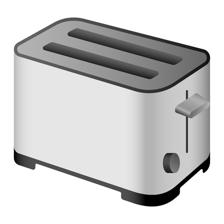 Metal toaster icon. Realistic illustration of metal toaster vector icon for web design isolated on white background Ilustrace