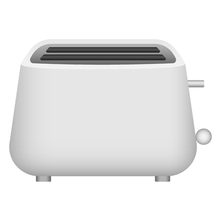 Plastic toaster icon. Realistic illustration of plastic toaster vector icon for web design isolated on white background Imagens - 124943389