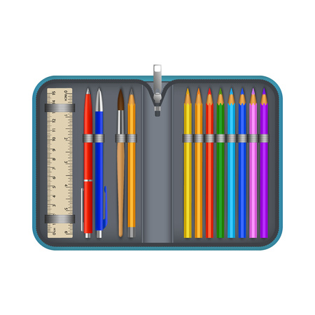 Colorful pencil box icon, realistic style