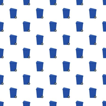 Blue garbage box pattern seamless vector repeat for any web design
