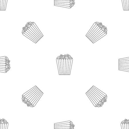 Cinema popcorn box pattern seamless vector repeat geometric for any web design Imagens - 124943399