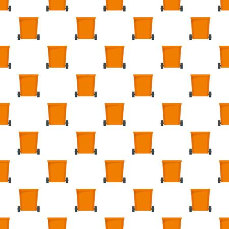 Orange trash can pattern seamless vector repeat for any web design