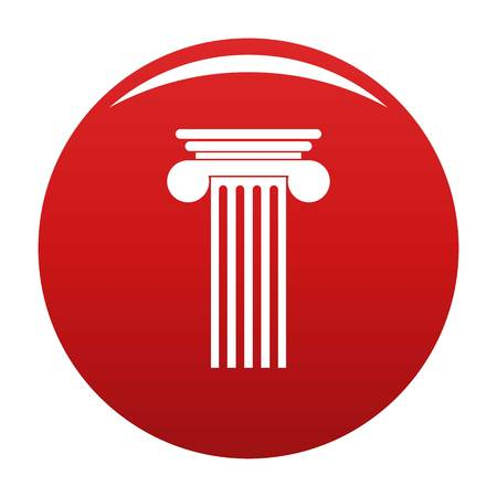Polyhedral column icon vector red Illustration