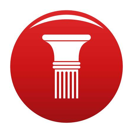 Fluted column icon vector red