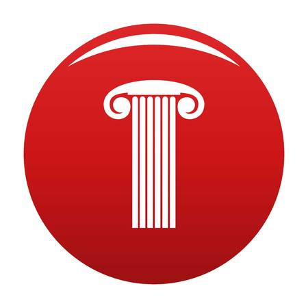 Marble column icon vector red