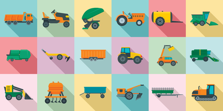 Agricultural machines icons set. Flat set of agricultural machines vector icons for web design Illustration