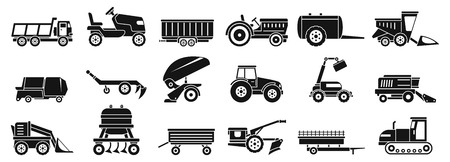 Farm agricultural machines icons set. Simple set of farm agricultural machines vector icons for web design on white background