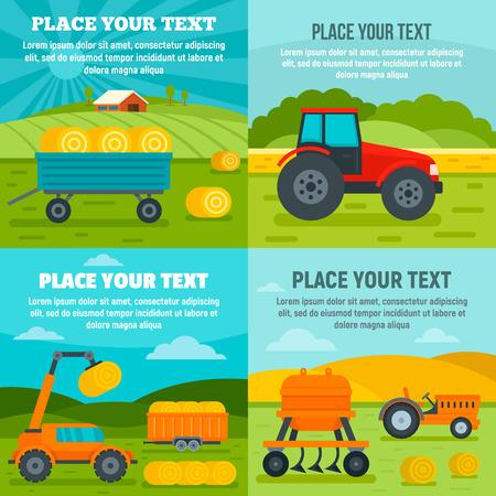 Agricultural machines banner set. Flat illustration of agricultural machines vector banner set for web design Imagens - 124743279