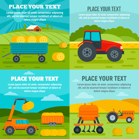 Agricultural machines banner set. Flat illustration of agricultural machines vector banner set for web design Vectores