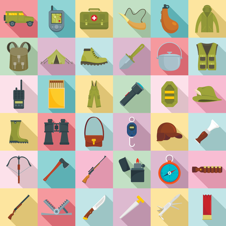 Hunting equipment icons set. Flat set of hunting equipment vector icons for web design Imagens - 124743280