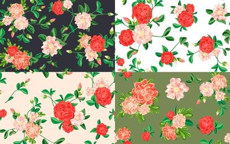 Camellia pattern set. Cartoon illustration of camellia vector pattern set for web design Imagens - 124743281