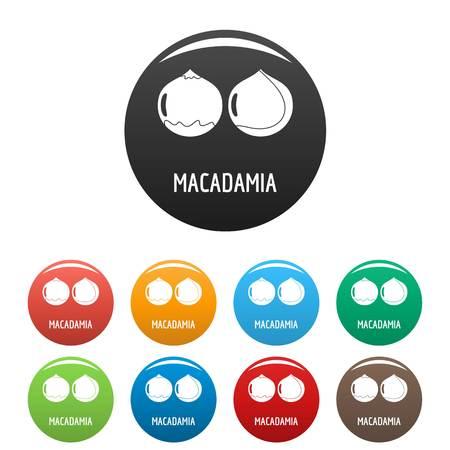 Macadamia icons set color