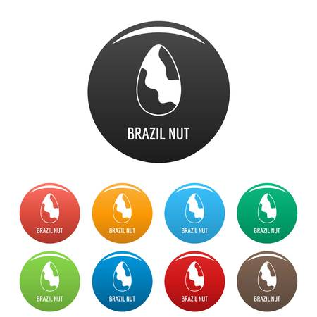 Brazil nut icons set 9 color vector isolated on white for any design