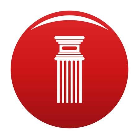 Antique column icon vector red
