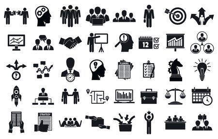 Business planning meeting system icons set, simple style