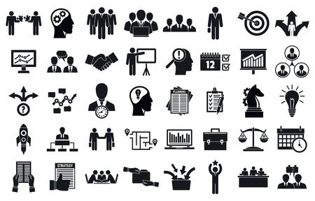 Zakelijke planning vergadering systeem iconen set, eenvoudige stijl