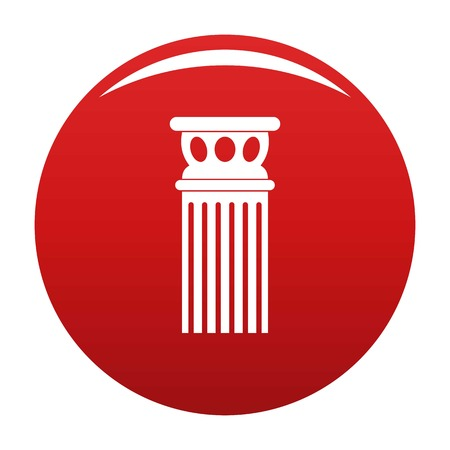 Ancient column icon vector red