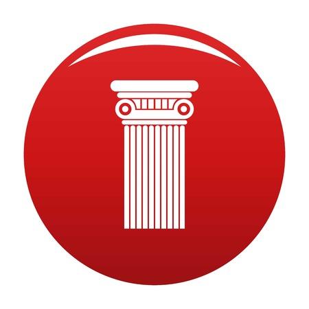 Architectural column icon vector red
