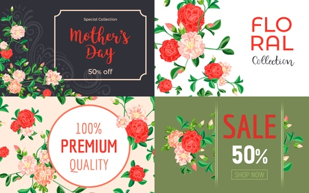 Camellia flower banner set. Cartoon illustration of camellia flower vector banner set for web design Imagens - 124743308