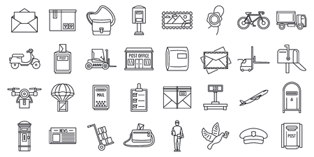 Mailman carrier icons set. Outline set of mailman carrier vector icons for web design isolated on white background