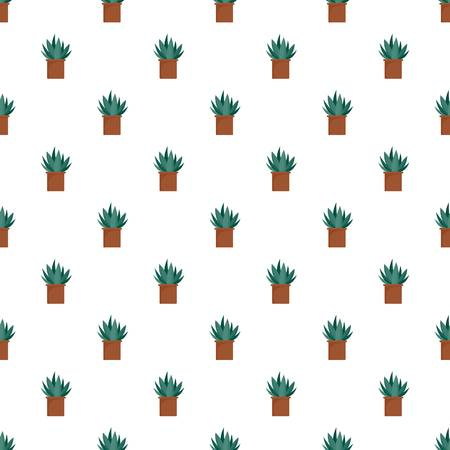 Aloe cactus pot pattern seamless vector repeat for any web design