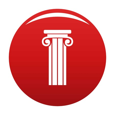 French column icon vector red Illustration