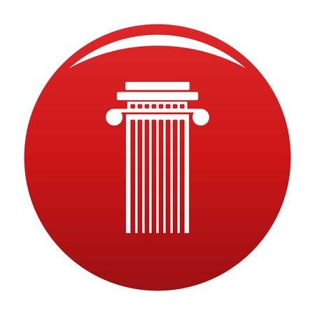 Cylindrical column icon vector red