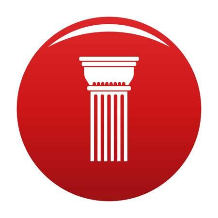 Building column icon vector red Иллюстрация