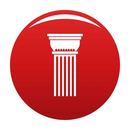 Building column icon vector red Illustration