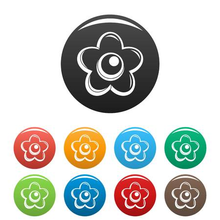 Choco flower icons set 9 color vector isolated on white for any design
