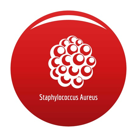 Staphylococcus aureus icon vector red