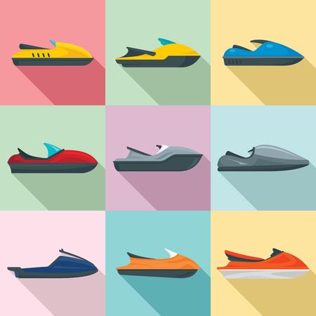 Jet ski icons set. Flat set of jet ski vector icons for web design