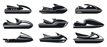 Water jet ski icons set, simple style
